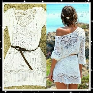 Boho-style hollow-knitted cover up